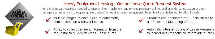 Heavy Equipment Leasing - Online Lease Quote Request System